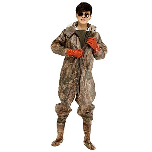 Xinwcang Profesional Pantalones de Pesca, Impermeables Camuflaje Vadeador Waders Pesca Pescadores PVC Botas Altas como la Imagen1 (+ Guantes) 42