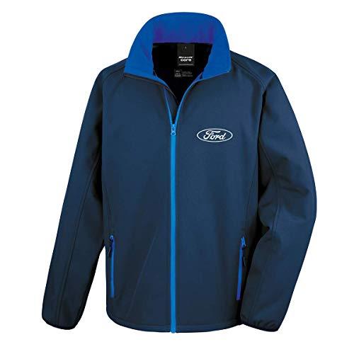 Offizielles Lizenziertes Original Ford White Oval Softshell-Rennjacke/Jacke (S, Marinenblau)