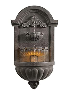 Kenroy Home 51011PLBZ San Pablo Wall Fountain with Light, 34.6 Inch Height, 19.5 Inch Width, 9.5 Inch Ext. Plum Bronze Finish
