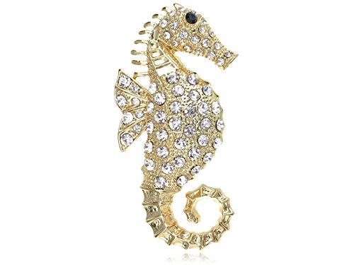 Alilang helder kristal schattig gouden toon zeepaardje zee schepsel broche pin kostuum sieraden