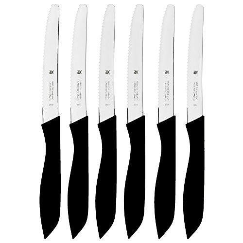 WMF Classic Line Frühstücksmesser Set 6-teilig, 23 cm, Brötchenmesser Wellenschliff, Brotzeitmesser, Spezialklingenstahl, Kunststoffgriff, schwarz