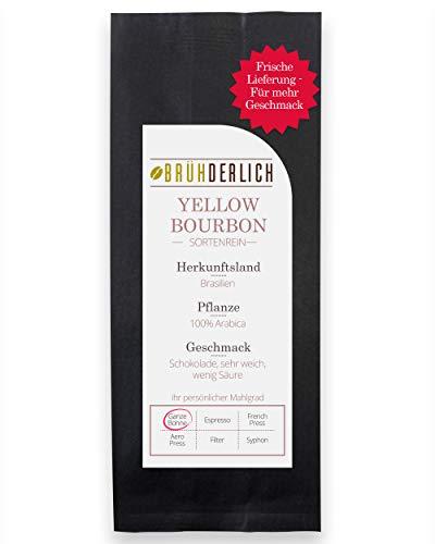 BRÜHDERLICH Premium Kaffeebohnen Arabica Yellow Bourbon (1kg) - Außergewöhnlich Mild und Säurearm - Besondere Kaffeebohnen aus Brasilien - Harmonische Grundsüße und unglaublich Weiches Aroma