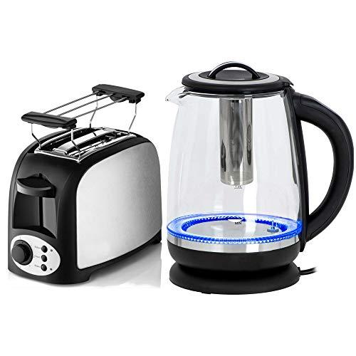 TronicXL 2-Schlitz Toaster 750W mit Brötchen-Aufsatz + Wasserkocher mit einstellbarer Temperatur + Tee-Sieb Tee-Kocher + LED Beleuchtung Frühstück-Set Frühstücks-Set Kunststoff + Edelstahl Design