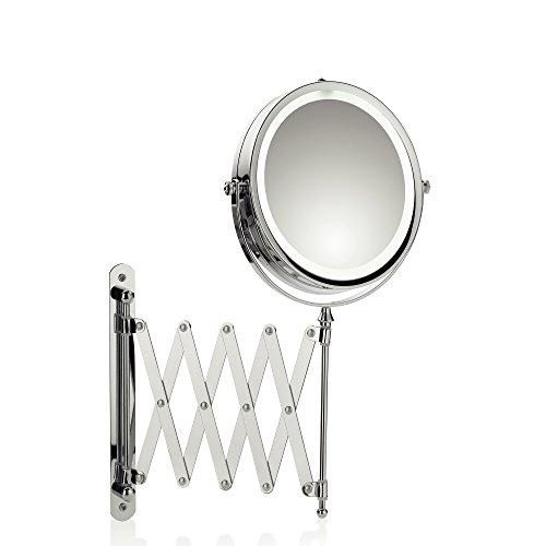 Kela Wand-Kosmetik-Spiegel, Valeria, LED-Beleuchtung, Ausziehbar, 1-/5-fach Vergrößerung, Zum Verschrauben, Ø 14 cm, Verchromtes Metall, 20643