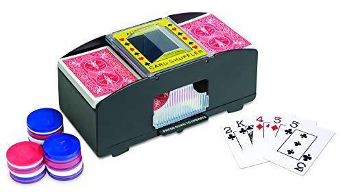 IdeaWorks – 2 Deck Card Shuffler – Automatic Card Shuffler – Fits Up to 2 Standard Decks