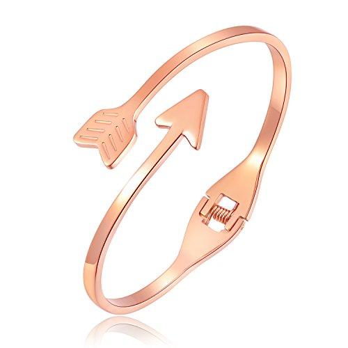iLove EU Edelstahl Armband Armreif Manschette Rose Gold Pfeil Poliert Charm Charme Damen