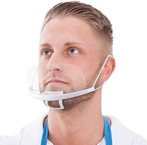Blumax 10 x Gesichtsvisier aus Kunststoff in weiß | Gesichtsabdeckung Mund | Face Shield - Halbvisier