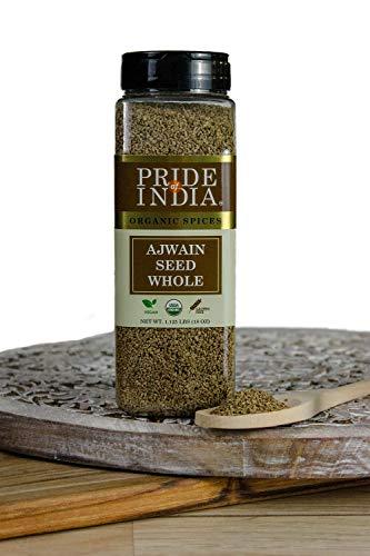 Pride Of India - Ajwain Seed Whole - 18 Unzen (510gm) Große Dual-Sichter Jar Authentic Indian Carom Samen -Used zum Würzen von Speisen (ajwain Samen whole - Authentic Indian Karamell Samen)