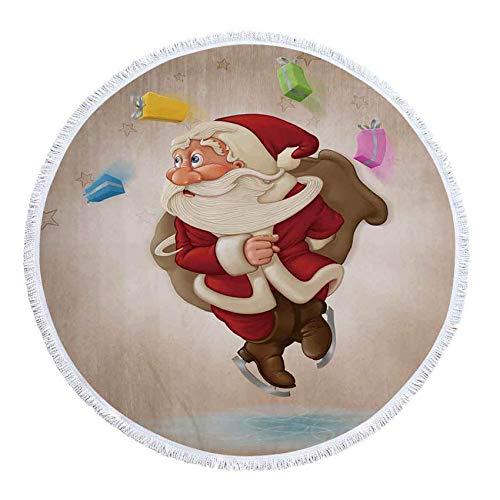 shiyueNB Kerstman en hert zomer ronde handdoek microvezel badkamer douche handdoeken yogamat deken met kwasten 150x150cm 3
