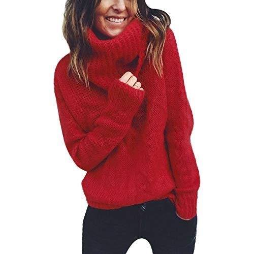 KEERADS Femme Chandail Pull, Automne Hiver Mode Élégant Couleur Unie Col Haut Manche Longue Sweater Blouse Chic en Vrac Jumper Tricots Pull Tops Pullover pour Printemps (XL,Rouge)