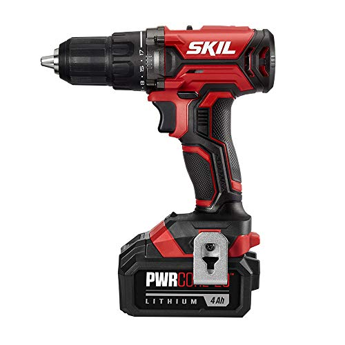 SKIL 20V 1/2 Inch Cordless Drill Driver, Includes 4.0Ah PWRCore 20 Lithium Battery and Charger - DL527503