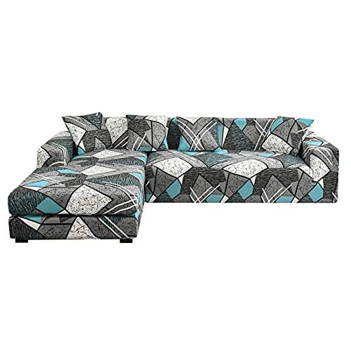 HALOUK Funda de Sofá en Forma de L,2 Pieza Funda Elástica para Sofá Estampada Lavable Spandex Protector de Muebles para Sala de Estar-N-3+4 Plaza