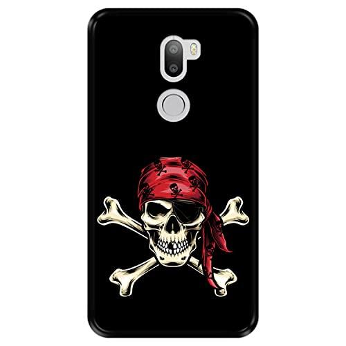 Hapdey Funda Negra para [ Xiaomi Mi5s Plus - Mi 5s Plus ] diseño [ Calavera Pirata ] Carcasa Silicona Flexible TPU