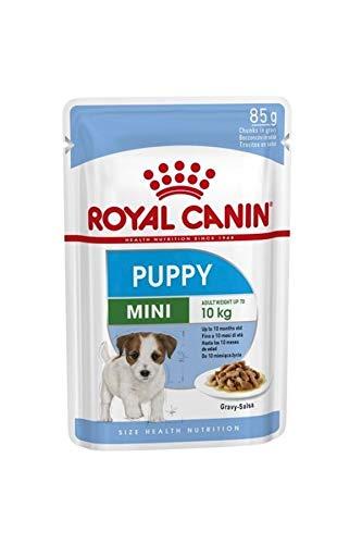 ROYAL CANIN Nassfutter Puppy Mini Fleischstücke in Sauce für Welpen Kleiner Rassen – Box 12 x 85 g (Taschen)