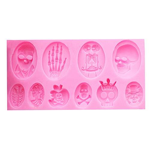 LIZHOUMIL Molde de silicona para Halloween, molde de cubitos de hielo, tartas, fondant, tartas, fondant, pasteles, hornear, herramientas DIY de silicona, forma de bombones, color rosa