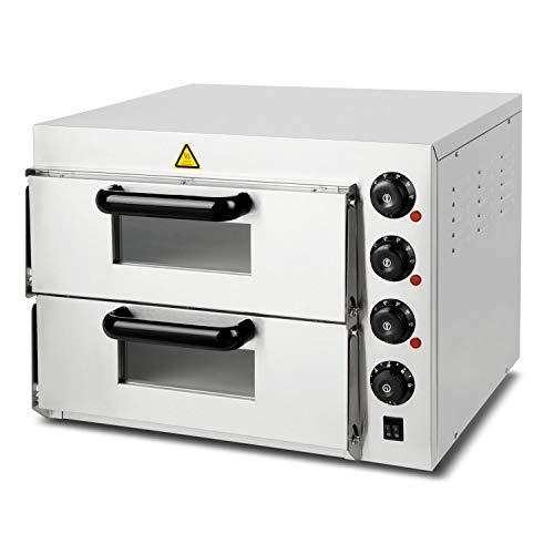 vertes Profi Doppel Pizzaofen Steinbackofen für Pizza, Brot und Backwaren (2 Kammern, 3000 Watt, Temperatur regelbar bis 350°C, Ober- und Unterhitze regelbar, Timer Funktion, Edelstahl)