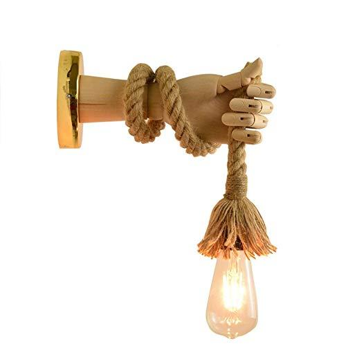 JWC Lámpara de Pared de Cuerda de cáñamo de Hierro de Madera Industrial, Accesorio de Luces de Pared de Cuerdas Retro, iluminación Interior de Cuerda de Personalidad Creativa, para Pasillo de Pasillo