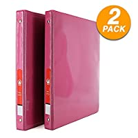 """Emraw Super Great 1/2"""" 3-Ring View Binder with 2-Pockets - Available in Fuschia - Great for School, Home, Office (2-Pack) [並行輸入品]"""
