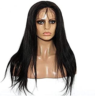 22 Inch Long Straight Hand Tied Front Lace Synthetic Wig for women