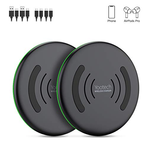 YOOTECH Wireless Charger, [2-Pack] Qi-Zertifiziert maximal 10W Induktion Ladestation für iPhone 11/11 Pro/11 Pro Max/XS MAX/XR/XS/X/8/8 Plus, Galaxy Note 9/S9/S9 Plus/Note 8/S8, Neue AirPods Pro usw.
