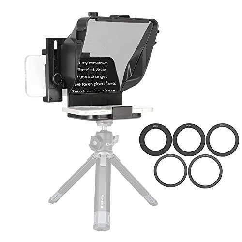 Mini Teleprompter portátil, Aparato de grabación de vídeo con Control Remoto para Youtube Tiktok Video Live Streaming, teléfono, DSLRs (Color : For Camera+Phone~with Stand)