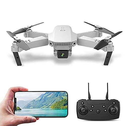NONGLAN Drone 4k Professionale HD Doppia Fotocamera Dron WiFi Trasmissione in Tempo Reale FPV Droni Pieghevole Quad(Color:Bianco)
