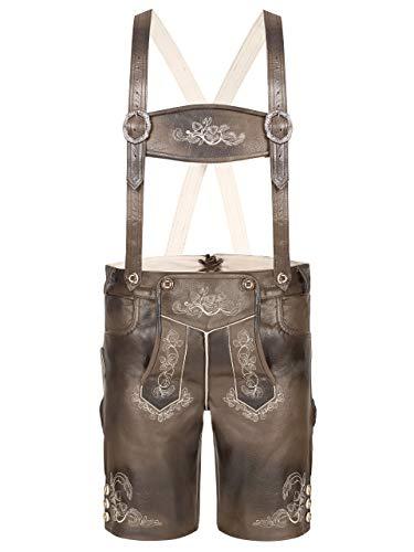 Almbock Trachtenhose Herren kurz braun - Kurze Lederhose glatt im Antik-Used-Look - Lederhosen kurz speckig - Kurze Lederhosen Herren Grösse 50
