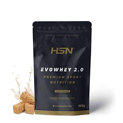 Concentrado de Proteína de Suero Evowhey Protein 2.0 de HSN | Whey Protein Concentrate| Batido de Proteínas en Polvo | Vegetariano, Sin Gluten, Sin Soja, Sabor Turrón, 500g