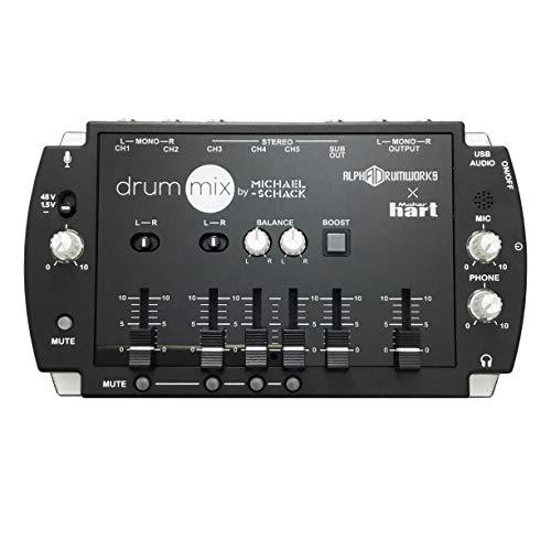 Maker hart Mezclador compacto de 5 canales, conector jack de 3,5 mm, salida de audio USB y micrófono integrado para batería en directo, transmisión webcast, streaming