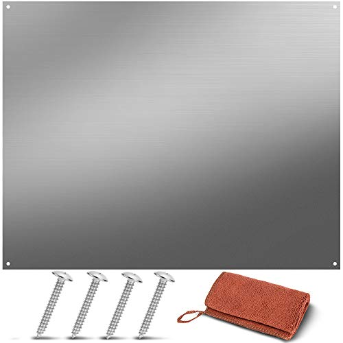 Stainless Steel Backsplash Range Hood Wall Shield for Kitchen - 24 x 30 Inch - Four Pre Drilled Holes, Hanging Hardware and Cleaning Towel Included for Easy Installation