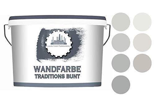 Lausitzer Farbwerke Dispersionsfarbe Grau matt - graue Wandfarbe für innen QUALITÄT + EINFACHE ANWENDUNG (2,5 L, Ashes 1)