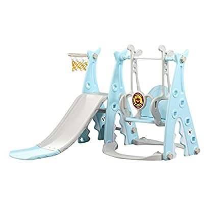 Hyioammb Toddler Climber and Swing Set Children's Climber Slide Toys Playset 3 in 1 Combination Climbers Slide Playset (Blue)