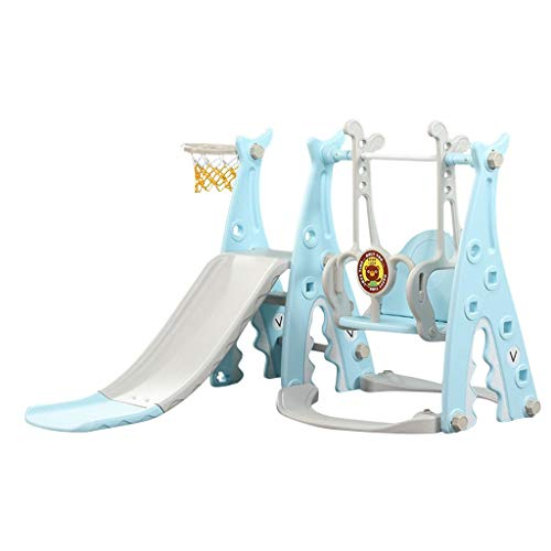 Toddler Indoor Slides and Climbers, 3-in-1 Climber Swing and Slide Set, Kids Climber Basketball Hoop for Outdoor Backyard Playground Playset (from US, Blue)