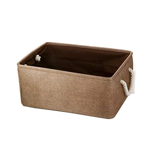 JINQIANSHANGMAO Containers New Large Folding Linen Fabric Storage Basket Kids Toys Storage Box Clothes Storage Bag Organizer Holder With Handle (Color : 3, Size : 36x26x16)