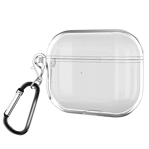 IUGGAN AirPods Pro Case Cover Clear Protective Carrying Case for 2019 Airpods 3 with Keychain Set (Front LED Visible)
