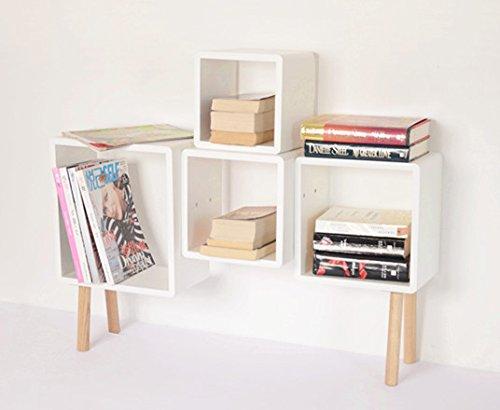 Tamia-Home Cassettiera 4 Cube Shelf 88,50 a 20 x 13 x 66,40 cm, Colore: Bianco