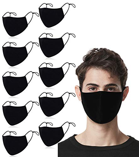RUNHOOD 10 Pack Unisex Cotton Black Face Mask, 3 Layer Breathable Protection Reusable Stretchy Cloth...