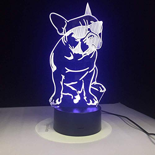 French Bulldog with Sunglass 3D Led Night Light Frenchie Dog Decorative Lighting Color Changing Acrylic Lamp for Dog Lovers Unique Gift
