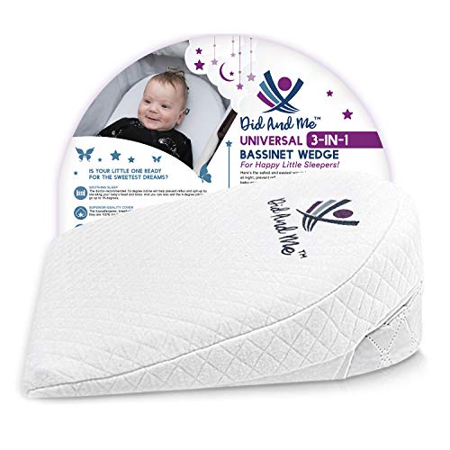 DID AND ME Bassinet Wedge Universal Newborn Infant Pillow 3 Elevation Options...