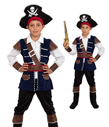 Magicoo Deguisement Pirate Enfant garçon de 3 à 12 Ans Bleu/Noir/doré - Costume de Pirate de Capitaine (140/146)