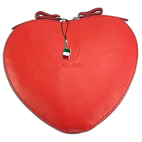 Florence OTF121R - Bolso de piel para mujer, diseño de corazón, color rojo