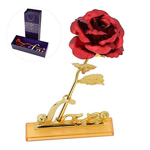 Hoja de Oro 24K Rosa, Rosa con Soporte Love y Caja de Regalo Día para San Valentín, Día de la Madre, Aniversario, Boda, Cumpleaños,Decoración del Hogar
