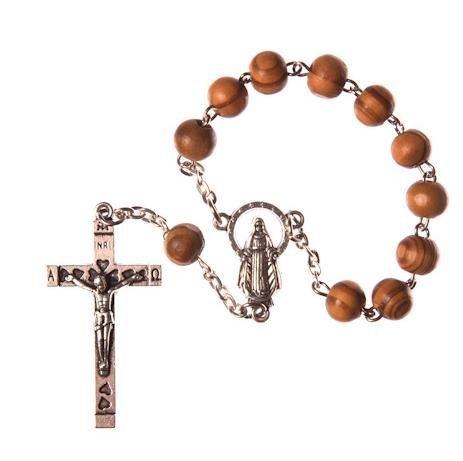 Madera Marrón Uno Decade Rosario. Nuestra Señora Centro. Metal Crucifijo. Rosray para un Espejo De Coche