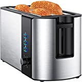 4 Slice Toaster, Extra Long Slot Toaster with Slim Design, Toaster Long Slot with Warming Rack, Stainless Steel Toaster 4 Slice, Reheat, Defrost, Countertop Toaster for Artisan Bread, Muffin etc