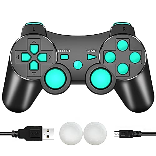 CFORWARD PS3 Controller Wireless, PS3 Joystick, Play 3 Remote Double Vibration 6-Axis Joypad Compatible with Playstation 3 Console Giochi(Lago Blu)