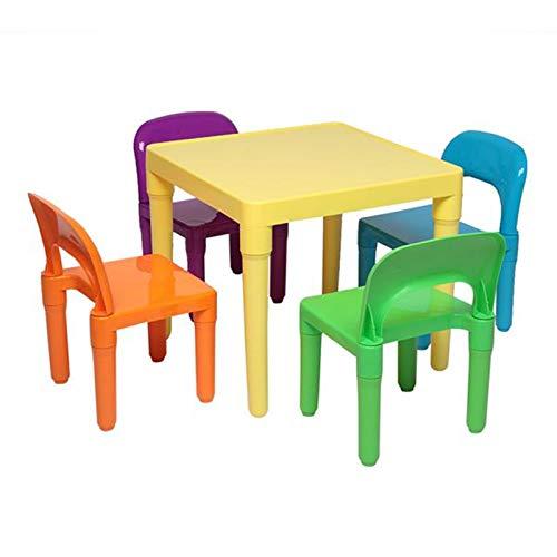 WUYANJUN Juego de Mesa para niños y 4 sillas, Manualidades en Color, Mesa de jardín para niños pequeños, Juego de Muebles de plástico para Actividades, Adecuado para niños y niñas Mayores de 3 años