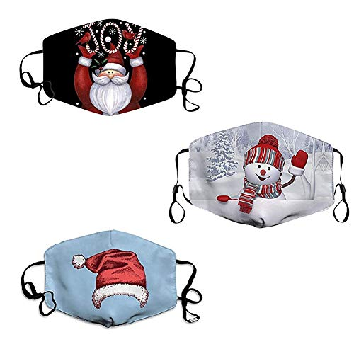 Gokeop 3Pcs Comfortable Merry Christmas Printed Facial Decorations for Women and Men, Christmas Face_mask Reusable Bandana for Party and Outdoor (with Filter Pads) (Style 3)