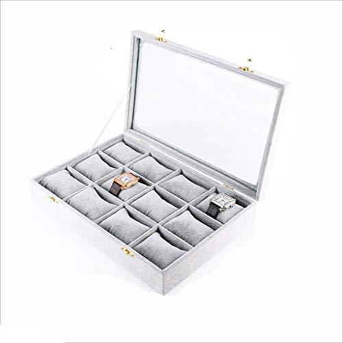 Duzhengzhou 12 Piezas de la Caja de exhibición de la joyería de Almacenamiento, Hielo Terciopelo Tela Caja de Reloj, Claraboya - Gris Plata