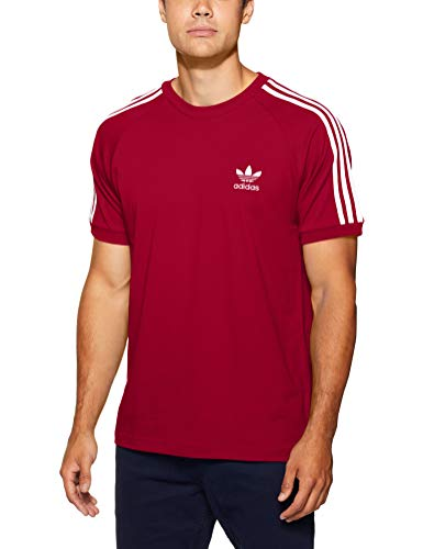 adidas 3-Stripes Camiseta, Hombre, Rojo (Burdeos Universitario), M