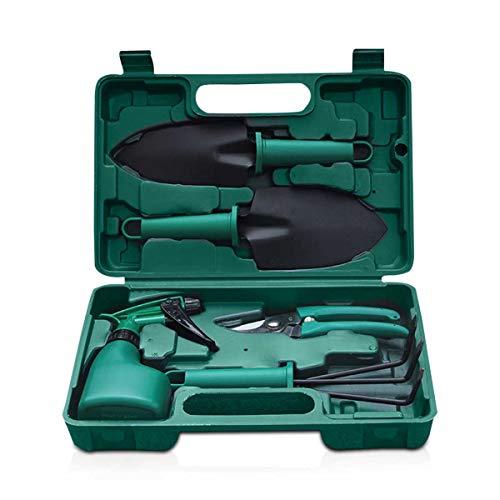 Zeroall Gartengeräte Set 5 PCS Gartenwerkzeug Set mit Rutschfestem Griff & Tragbarem Koffer Gartenarbeit Set mit Anti-Rost Schaufel Gartenschere Harke Sprühflasche(Grün)